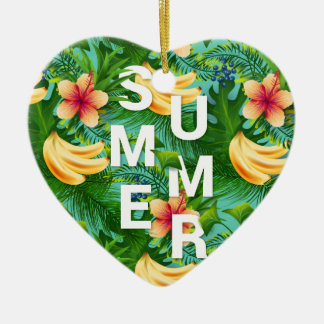 Tropical summer text on banana flowers background ceramic heart ornament