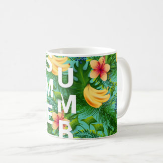 Tropical summer text on banana flowers background coffee mug