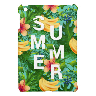 Tropical summer text on banana flowers background iPad mini cover