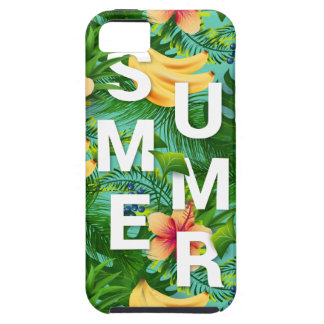 Tropical summer text on banana flowers background iPhone 5 case