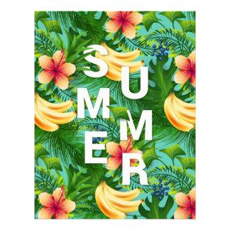 Tropical summer text on banana flowers background letterhead