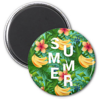 Tropical summer text on banana flowers background magnet