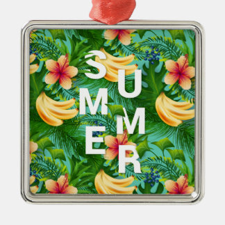 Tropical summer text on banana flowers background metal ornament