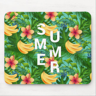Tropical summer text on banana flowers background mouse pad