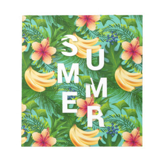 Tropical summer text on banana flowers background notepad