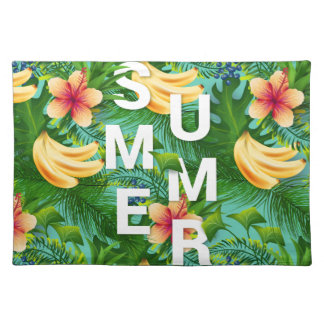 Tropical summer text on banana flowers background placemat