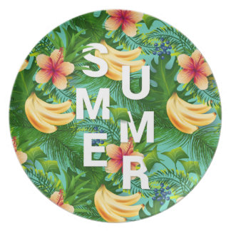 Tropical summer text on banana flowers background plate