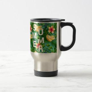 Tropical summer text on banana flowers background travel mug