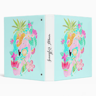 Tropical summer watercolor flamingo pineapple vinyl binder