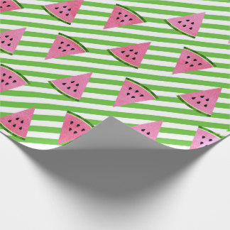 Tropical summer watermelon fruit green stripes wrapping paper