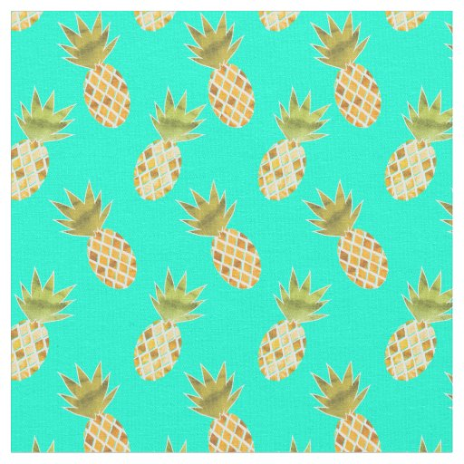 Tropical Summertime Watercolor Pineapple Pattern Fabric