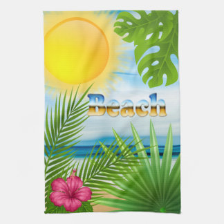 Tropical Sunrise Beach Paradise Kitchen Towel