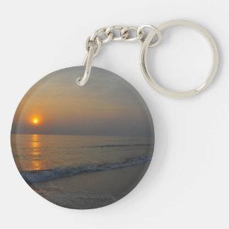 Tropical Sunrise Double-Sided Round Acrylic Keychain