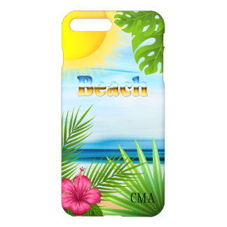 Tropical Sunrise on the Beach | Monogram iPhone 8 Plus/7 Plus Case