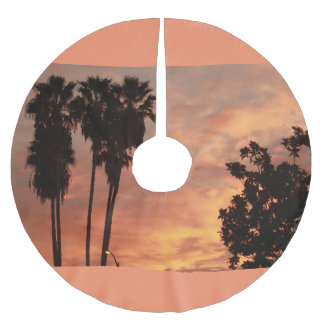 Tropical sunrise with silhouette trees brushed polyester tree skirt