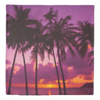 Tropical Sunset 1 (1 side) Queen Duvet Cover