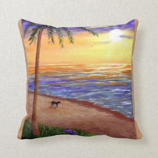 Tropical Sunset  Art Beach Palm Tree Creationarts Throw Pillow