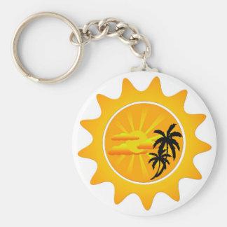 Tropical sunset basic round button keychain