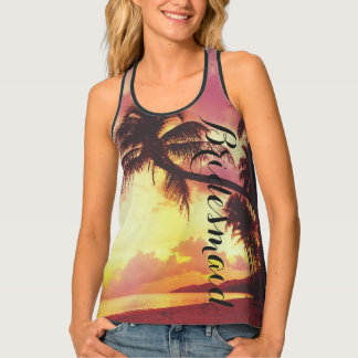 Tropical Sunset Beach Bridesmaid Personalized Tank Top