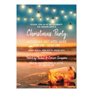 Tropical Sunset Beach Christmas Party Card
