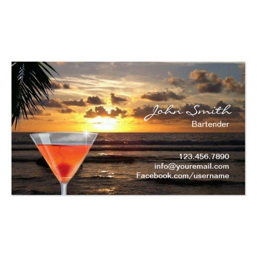 Tropical Sunset Beach Cocktail Bartender Business Card Templates