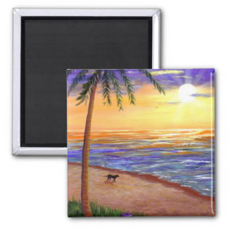Tropical Sunset Beach Dog by Creationarts Square Magnet