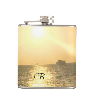 Tropical  Sunset Beach Hip Flask