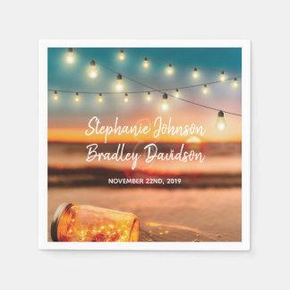 Tropical Sunset Beach Mason Jar Lights Wedding Paper Napkin