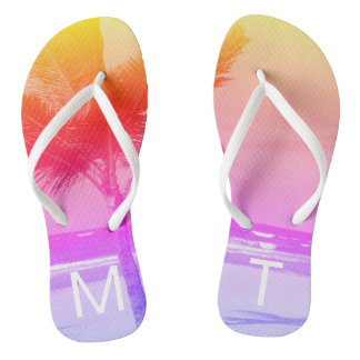 Tropical Sunset Beach & Palm Tree Initial Pink Flip Flops
