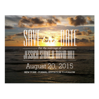 Tropical Sunset Beach Wedding Save the Date Postcard