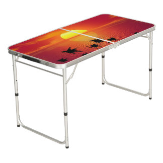 Tropical Sunset Beer Pong Table