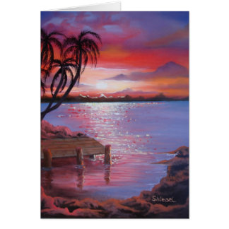 Tropical Sunset - Blank Card