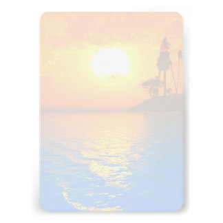 Tropical Sunset Blank Wedding Fan Program Paper Announcements