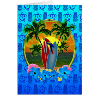 Tropical Sunset Blue Tiki Card