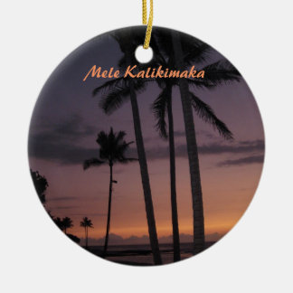 Tropical Sunset Christmas Ceramic Ornament