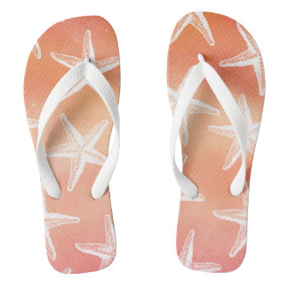 Tropical Sunset Flip Flops - Watercolor Starfish