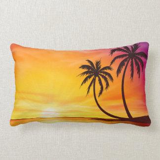 Tropical Sunset Island Lumbar Pillow