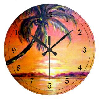 Tropical Sunset Large Clock
