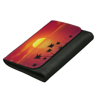 Tropical Sunset Leather Wallet For Women