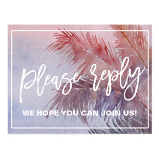 Tropical Sunset Menu Choice RSVP Postcard