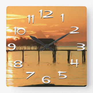 Tropical Sunset Over Bay Wall Clock Large Numbers