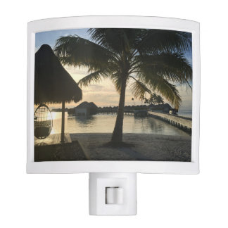 Tropical Sunset Palm Tree Beach Bungalows Nite Lights