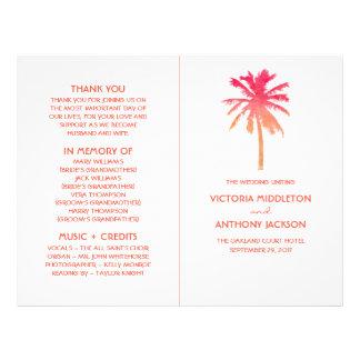 Tropical Sunset Palm Tree Beach Wedding Program