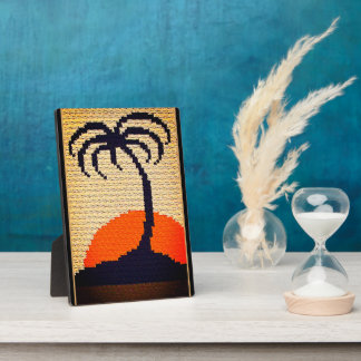 Tropical Sunset Palm Tree Crochet Free Standing Plaque