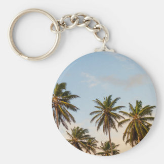 Tropical sunset palm trees in Vintage Style Basic Round Button Keychain