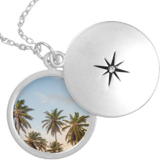 Tropical sunset palm trees in Vintage Style Locket Necklace