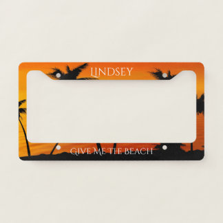 Tropical Sunset Palm Trees Ocean Personalized License Plate Frame