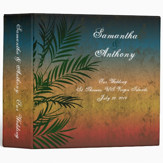 "Tropical Sunset Palm Wedding Album or Planner, 2"" 3 Ring Binder"