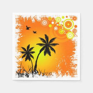 Tropical sunset paper napkins
