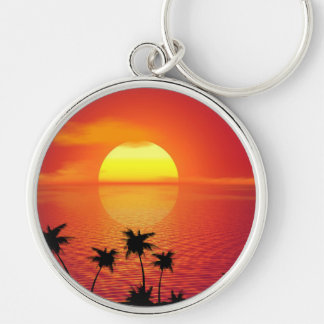 Tropical Sunset Silver-Colored Round Keychain
